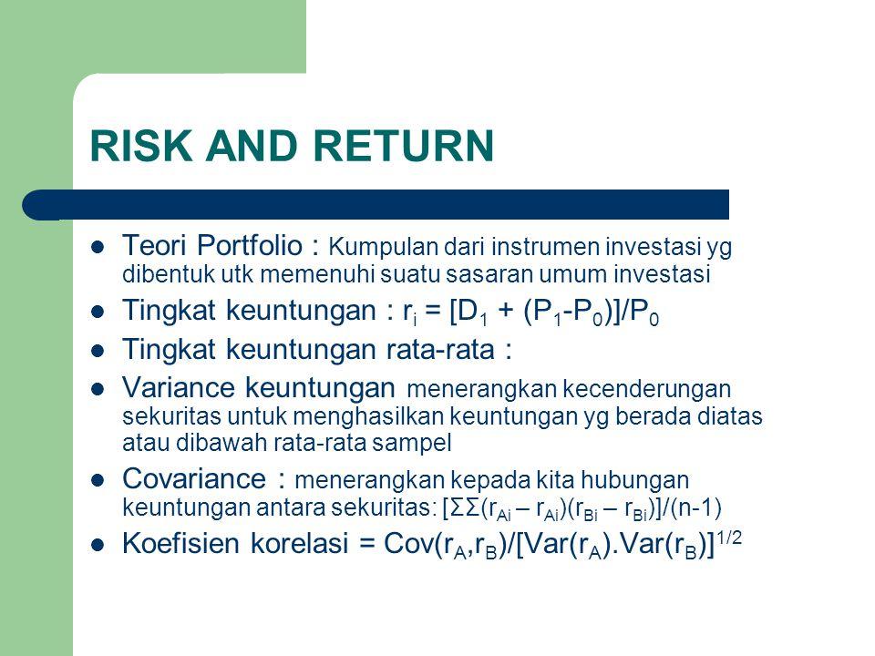 RISK AND RETURN Teori Portfolio : Kumpulan dari instrumen investasi yg dibentuk utk memenuhi suatu sasaran umum investasi.