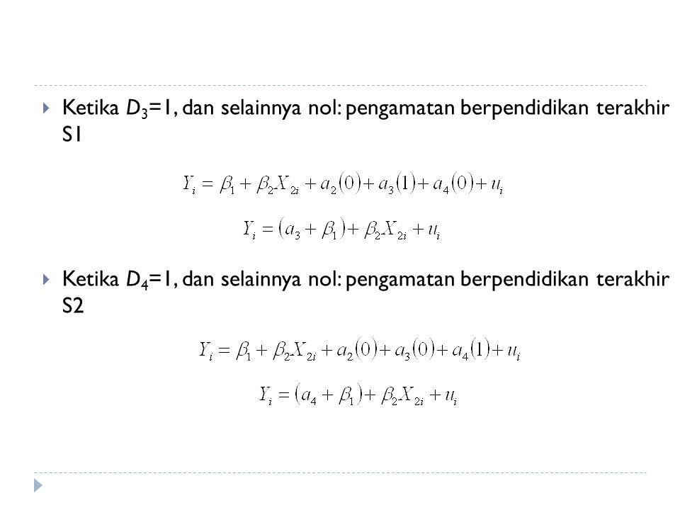 Ketika D3=1, dan selainnya nol: pengamatan berpendidikan terakhir S1