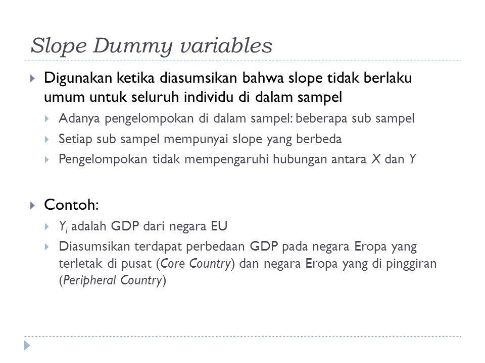 Slope Dummy variables Digunakan ketika diasumsikan bahwa slope tidak berlaku umum untuk seluruh individu di dalam sampel.