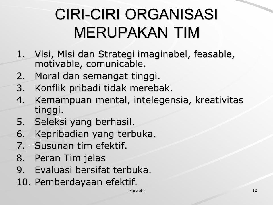 CIRI-CIRI ORGANISASI MERUPAKAN TIM