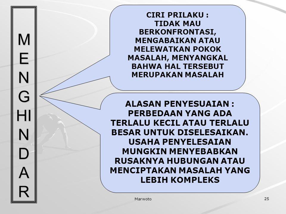 MENGHINDAR ALASAN PENYESUAIAN :