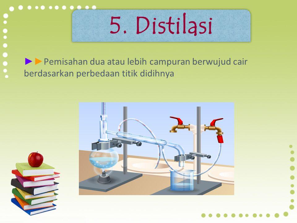 5. Distilasi ►►Pemisahan dua atau lebih campuran berwujud cair berdasarkan perbedaan titik didihnya