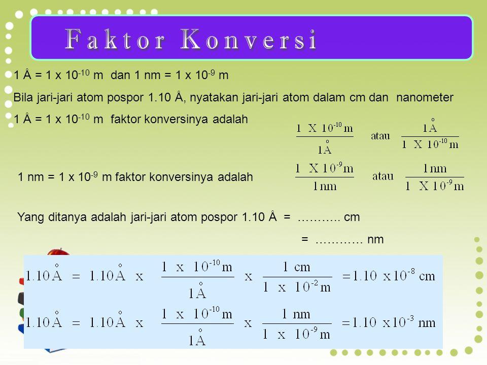 Faktor Konversi 1 Ǻ = 1 x 10-10 m dan 1 nm = 1 x 10-9 m