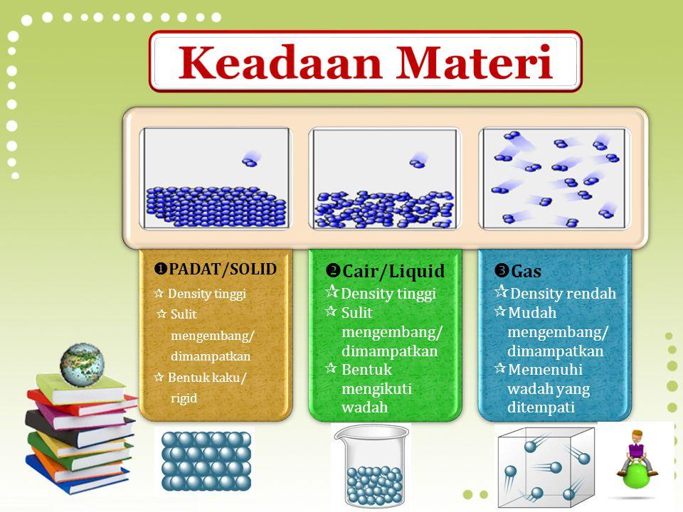 Keadaan Materi Cair/Liquid Density tinggi Gas Density rendah