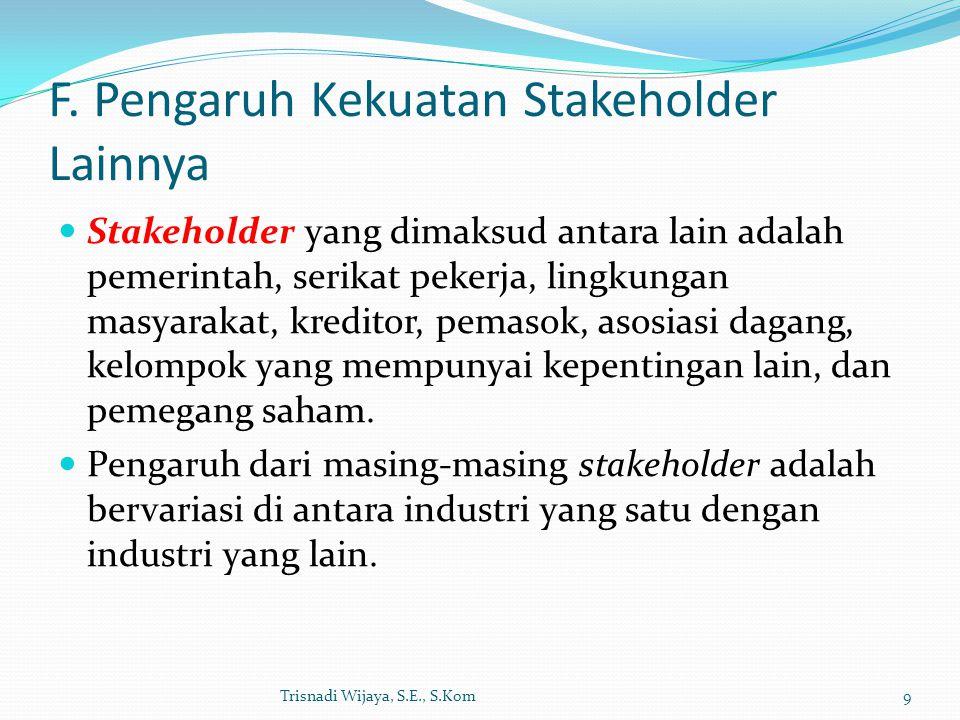 F. Pengaruh Kekuatan Stakeholder Lainnya