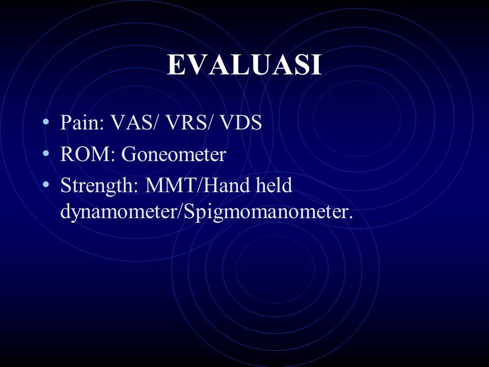 EVALUASI Pain: VAS/ VRS/ VDS ROM: Goneometer