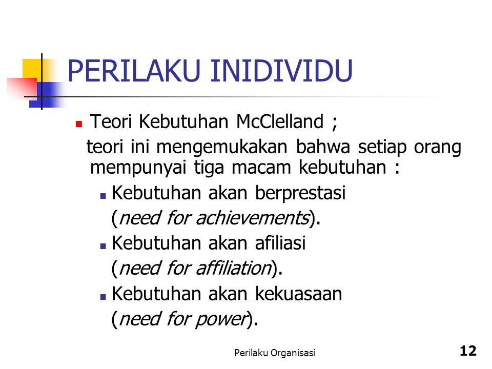 PERILAKU INIDIVIDU Teori Kebutuhan McClelland ;