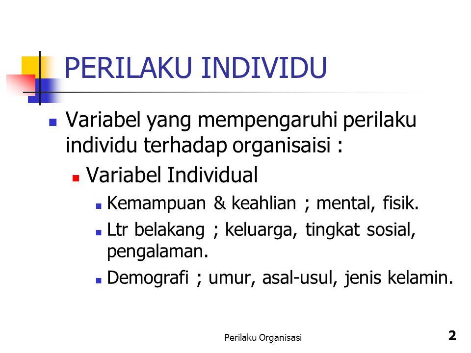 PERILAKU INDIVIDU Variabel yang mempengaruhi perilaku individu terhadap organisaisi : Variabel Individual.