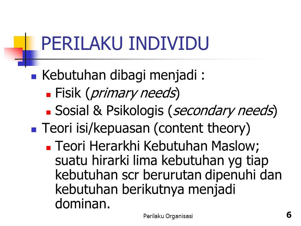 PERILAKU INDIVIDU Kebutuhan dibagi menjadi : Fisik (primary needs)