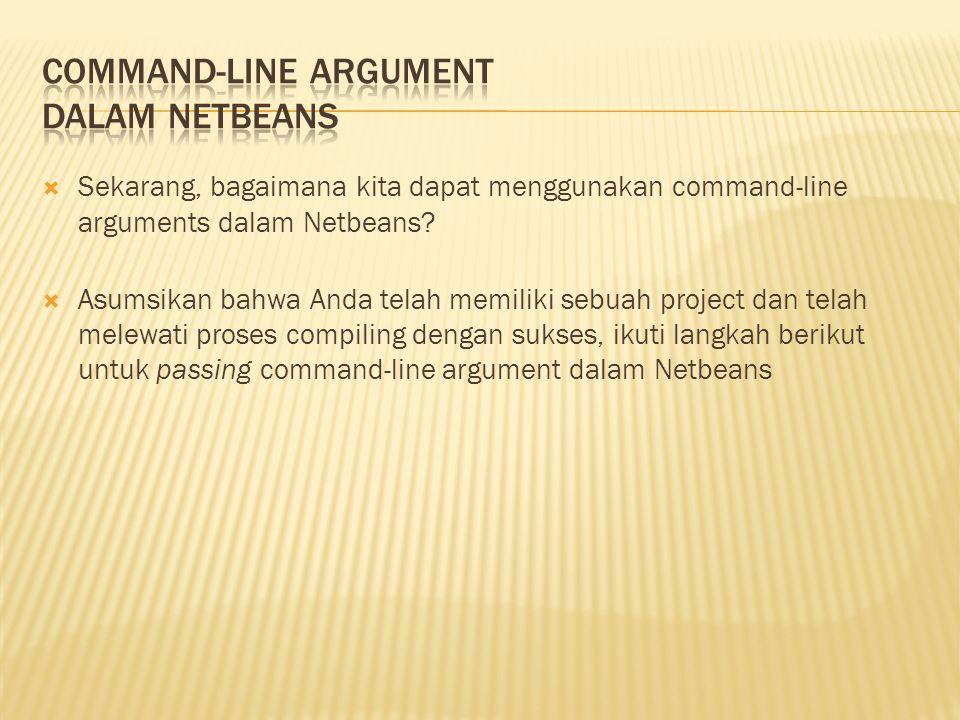 Command-line Argument dalam NetBeans
