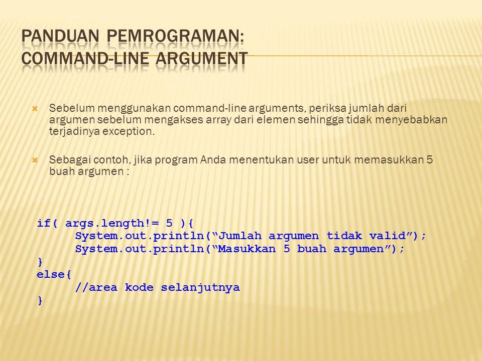 Panduan pemrograman: Command-line Argument