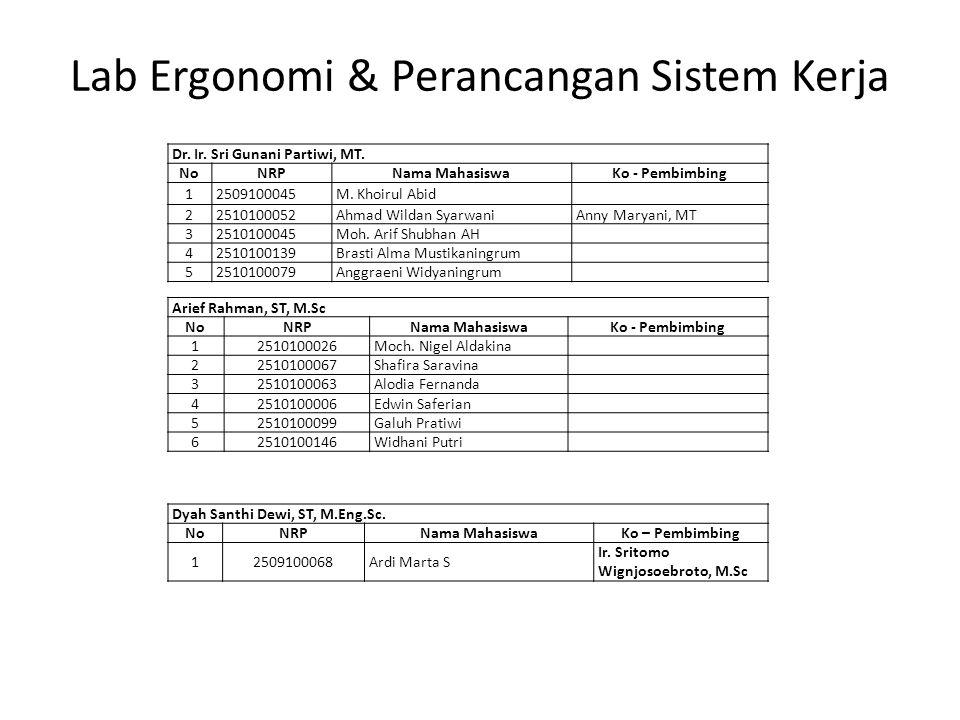 Lab Ergonomi & Perancangan Sistem Kerja
