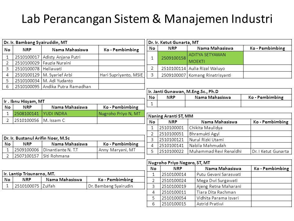 Lab Perancangan Sistem & Manajemen Industri