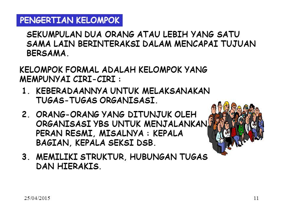 KELOMPOK FORMAL ADALAH KELOMPOK YANG MEMPUNYAI CIRI-CIRI :