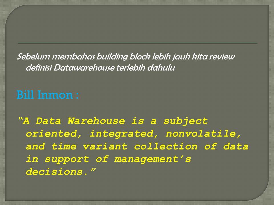 Sebelum membahas building block lebih jauh kita review definisi Datawarehouse terlebih dahulu