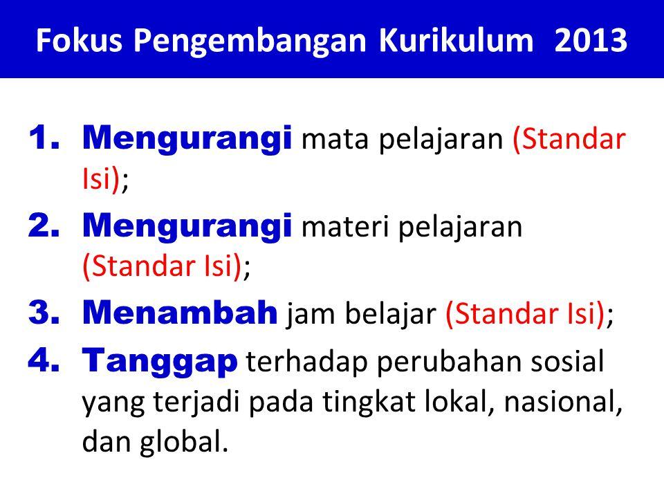Fokus Pengembangan Kurikulum 2013