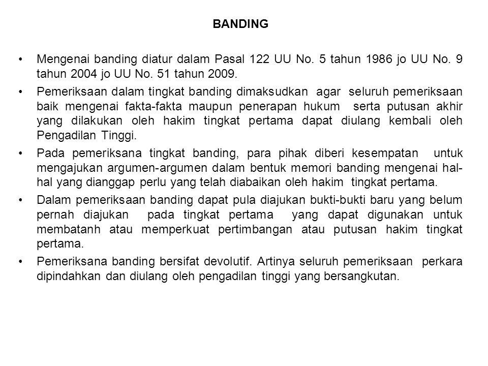 BANDING Mengenai banding diatur dalam Pasal 122 UU No. 5 tahun 1986 jo UU No. 9 tahun 2004 jo UU No. 51 tahun 2009.