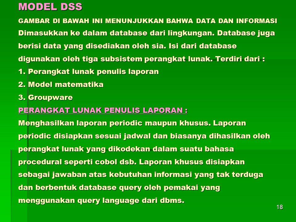 MODEL DSS GAMBAR DI BAWAH INI MENUNJUKKAN BAHWA DATA DAN INFORMASI Dimasukkan ke dalam database dari lingkungan.