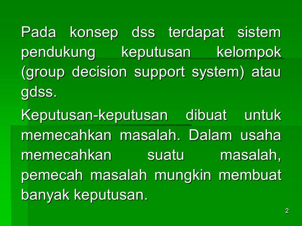 Pada konsep dss terdapat sistem pendukung keputusan kelompok (group decision support system) atau gdss.