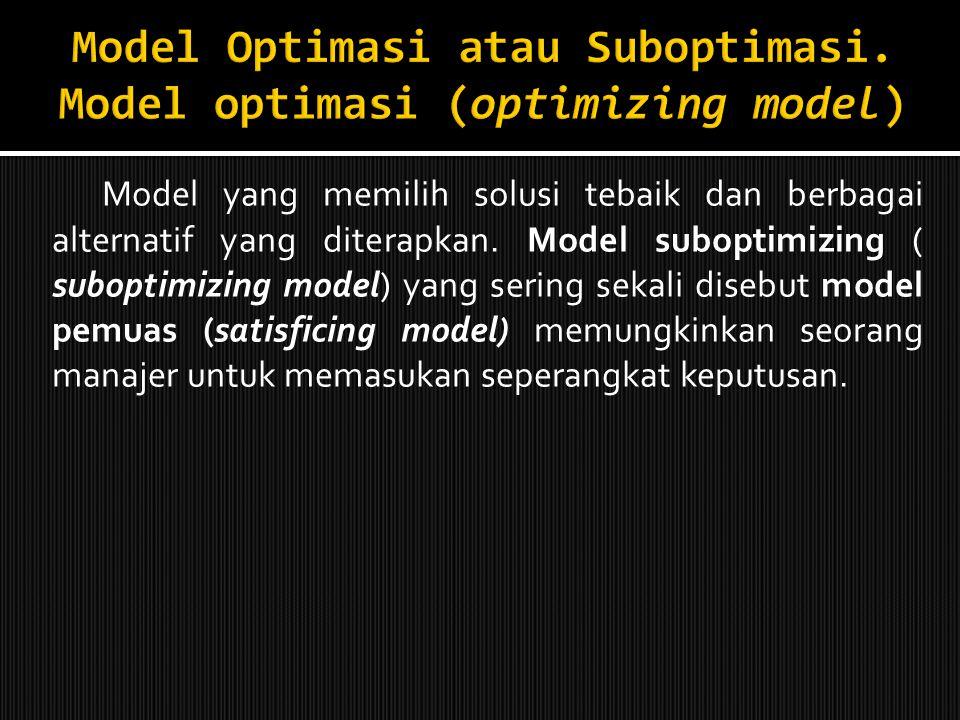 Model Optimasi atau Suboptimasi. Model optimasi (optimizing model)