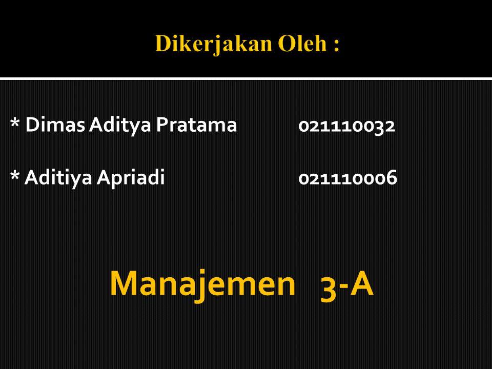 Manajemen 3-A Dikerjakan Oleh : * Dimas Aditya Pratama 021110032