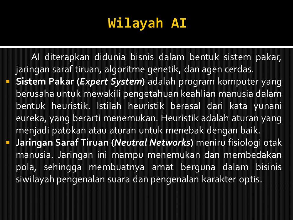 Wilayah AI AI diterapkan didunia bisnis dalam bentuk sistem pakar, jaringan saraf tiruan, algoritme genetik, dan agen cerdas.