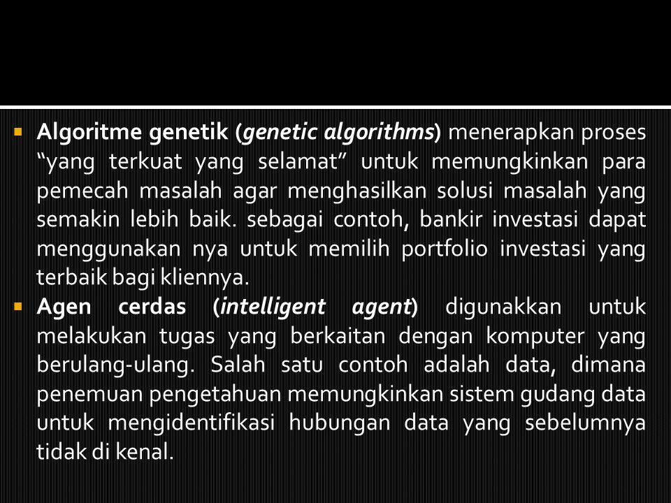 Algoritme genetik (genetic algorithms) menerapkan proses yang terkuat yang selamat untuk memungkinkan para pemecah masalah agar menghasilkan solusi masalah yang semakin lebih baik. sebagai contoh, bankir investasi dapat menggunakan nya untuk memilih portfolio investasi yang terbaik bagi kliennya.