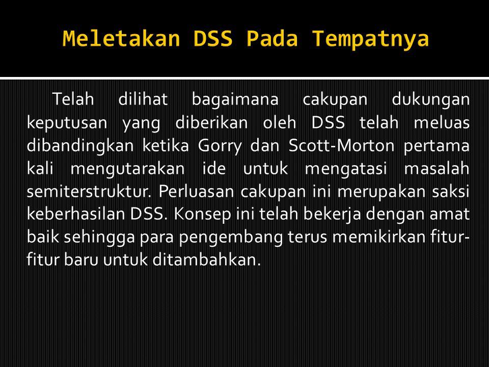 Meletakan DSS Pada Tempatnya