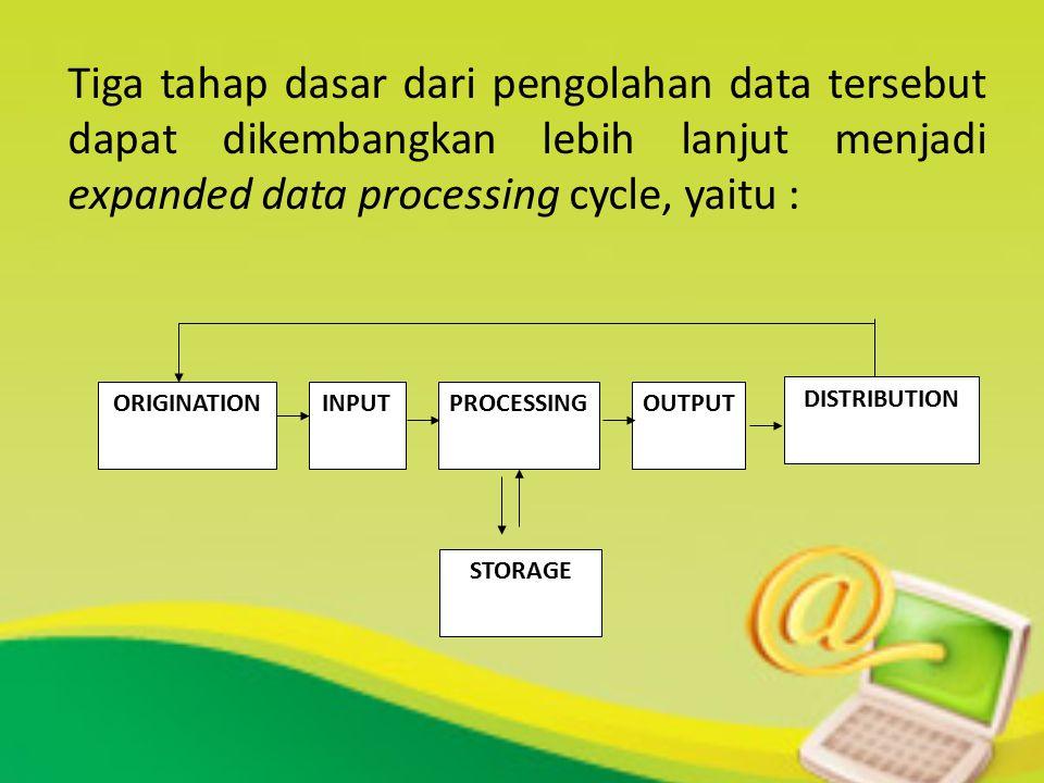 Tiga tahap dasar dari pengolahan data tersebut dapat dikembangkan lebih lanjut menjadi expanded data processing cycle, yaitu :