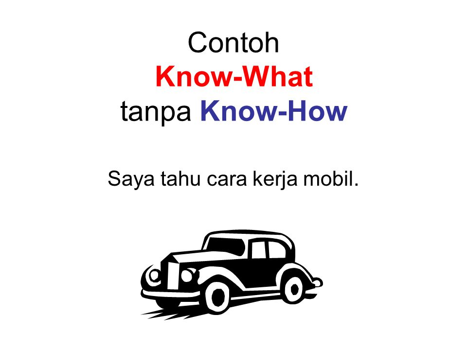 Contoh Know-What tanpa Know-How