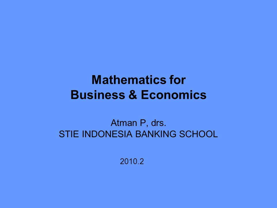 Mathematics for Business & Economics