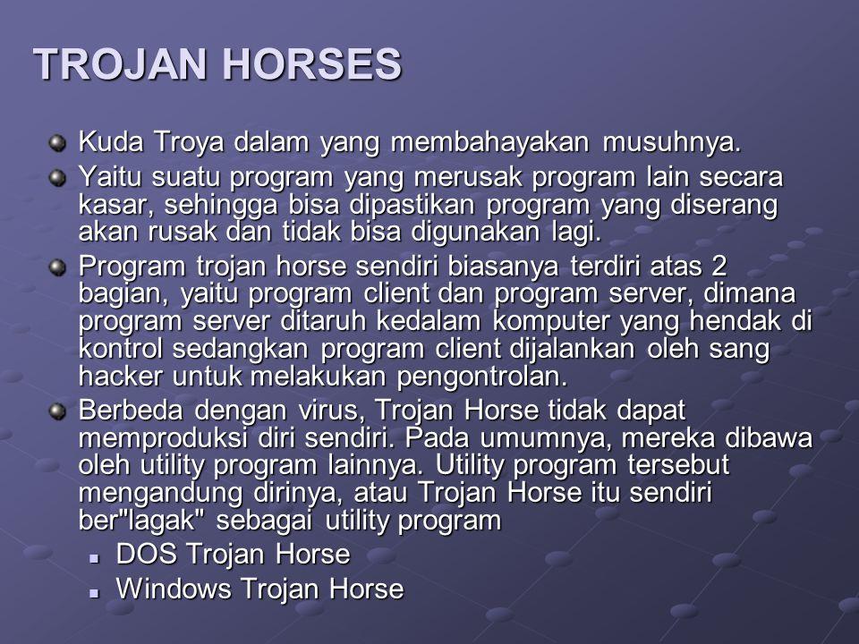 TROJAN HORSES Kuda Troya dalam yang membahayakan musuhnya.
