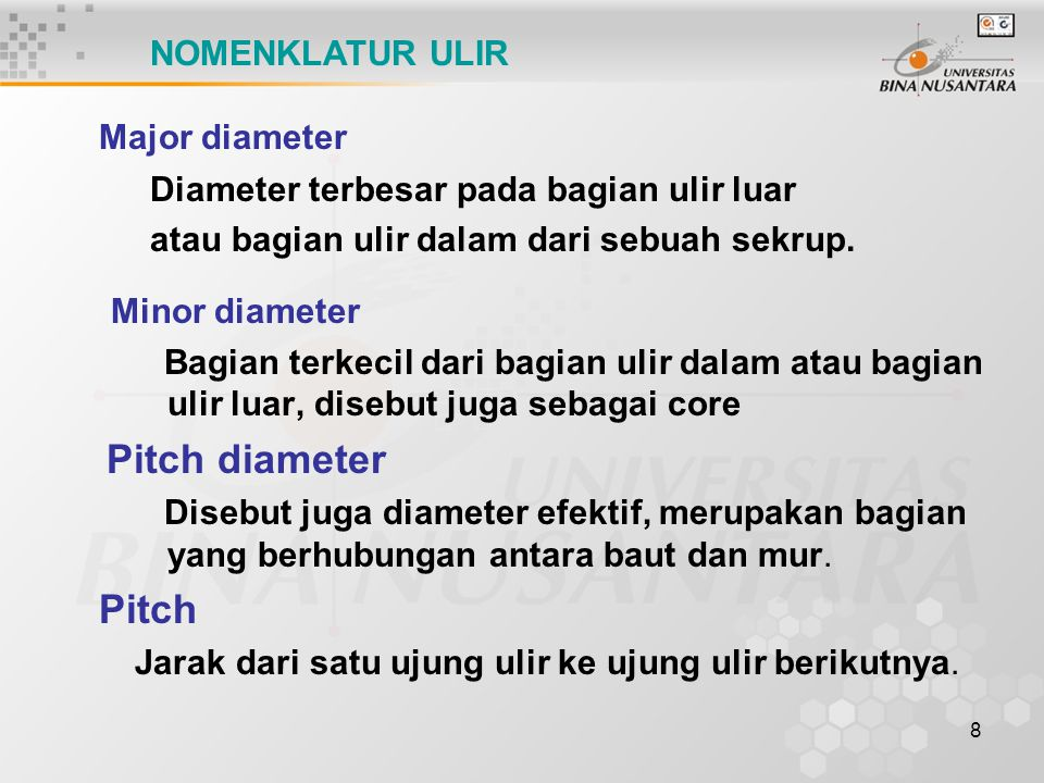 Major diameter Minor diameter Pitch diameter Pitch NOMENKLATUR ULIR