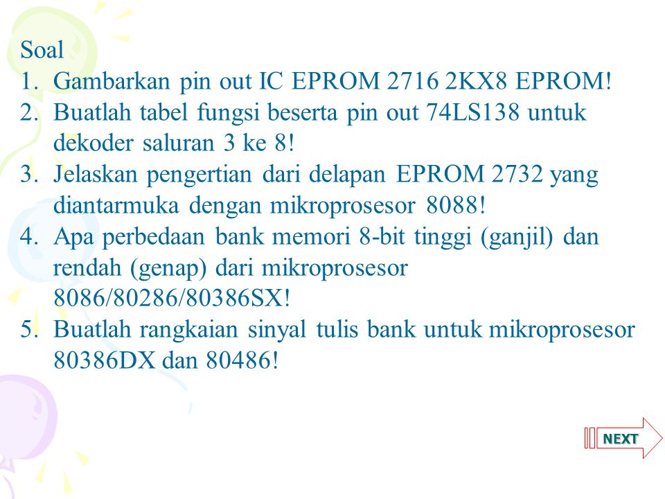 Gambarkan pin out IC EPROM 2716 2KX8 EPROM!