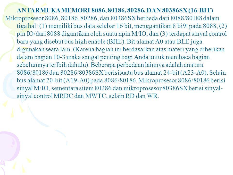 ANTARMUKA MEMORI 8086, 80186, 80286, DAN 80386SX (16-BIT)