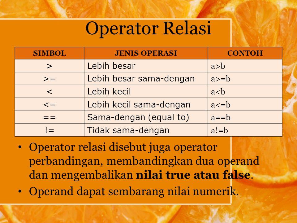 Operator Relasi SIMBOL. JENIS OPERASI. CONTOH. > Lebih besar. a>b. >= Lebih besar sama-dengan.