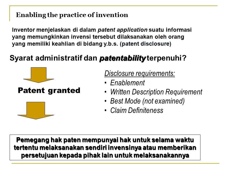 Syarat administratif dan patentability terpenuhi