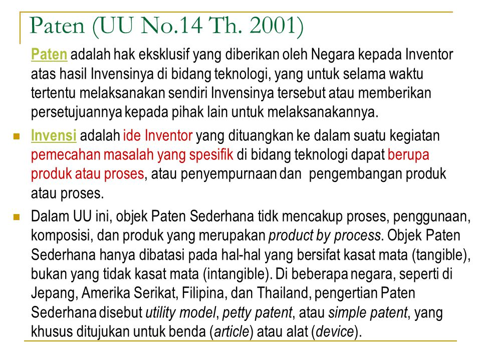 Paten (UU No.14 Th. 2001)