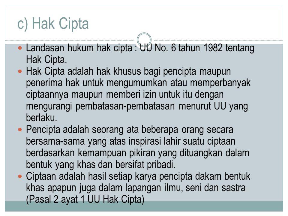 c) Hak Cipta Landasan hukum hak cipta : UU No. 6 tahun 1982 tentang Hak Cipta.