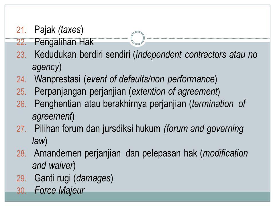 Pajak (taxes) Pengalihan Hak. Kedudukan berdiri sendiri (independent contractors atau no agency) Wanprestasi (event of defaults/non performance)