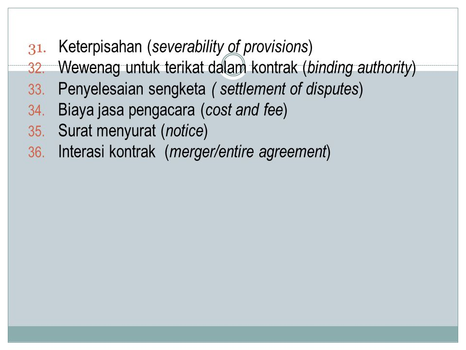 Keterpisahan (severability of provisions)
