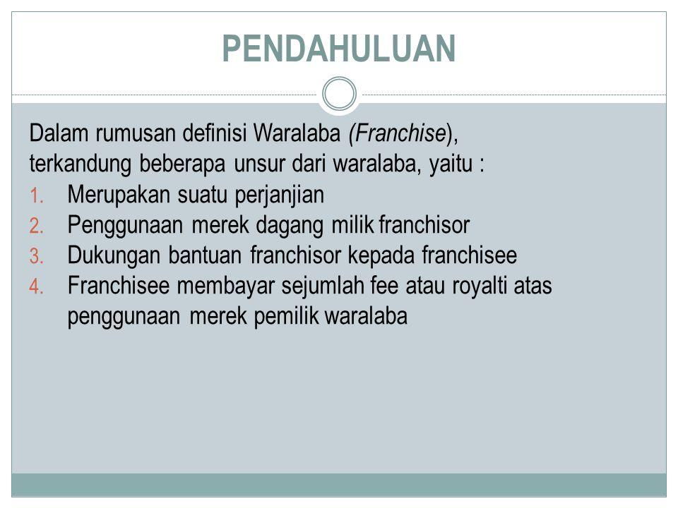 PENDAHULUAN Dalam rumusan definisi Waralaba (Franchise),