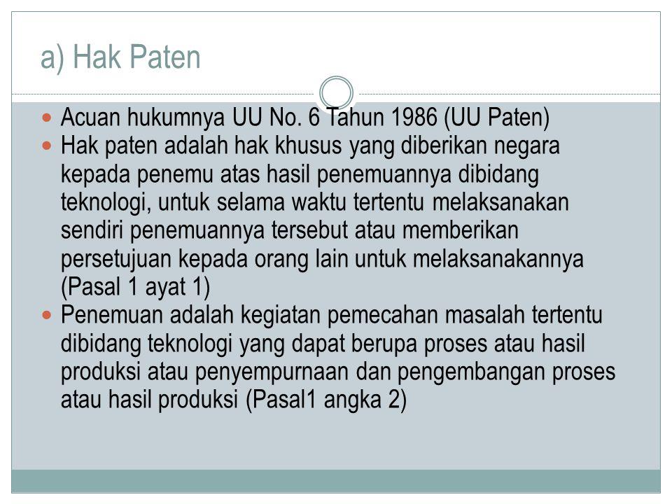 a) Hak Paten Acuan hukumnya UU No. 6 Tahun 1986 (UU Paten)