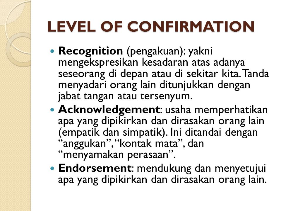 LEVEL OF CONFIRMATION