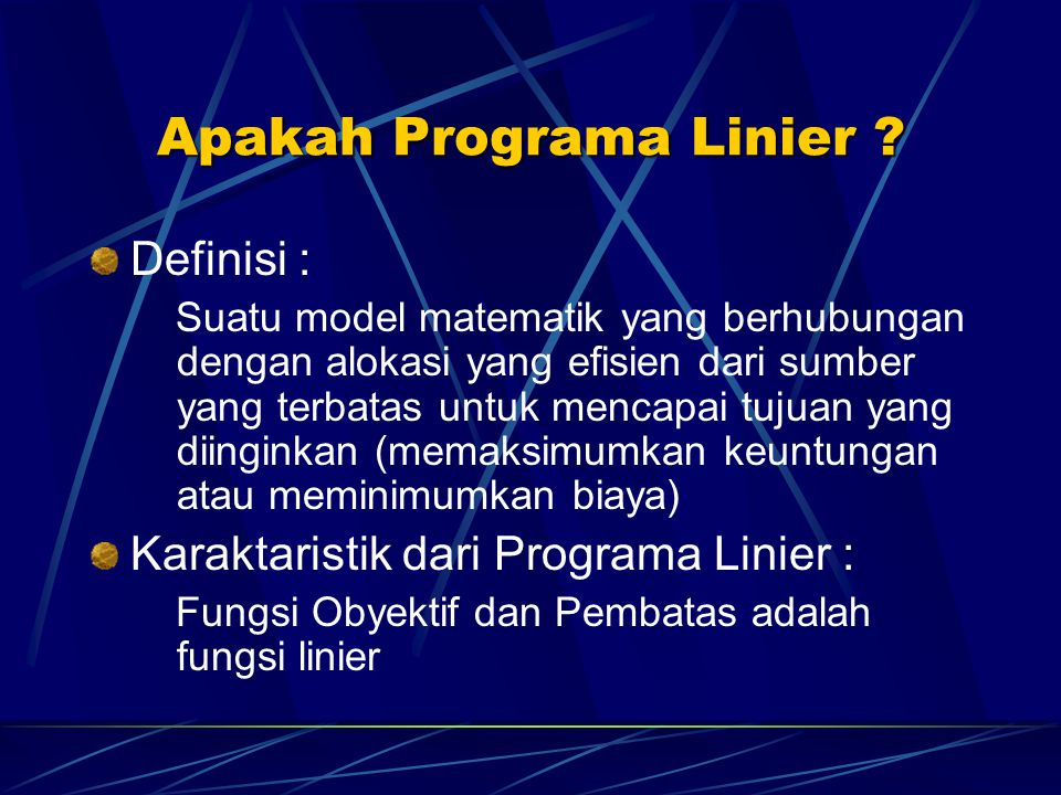 Apakah Programa Linier