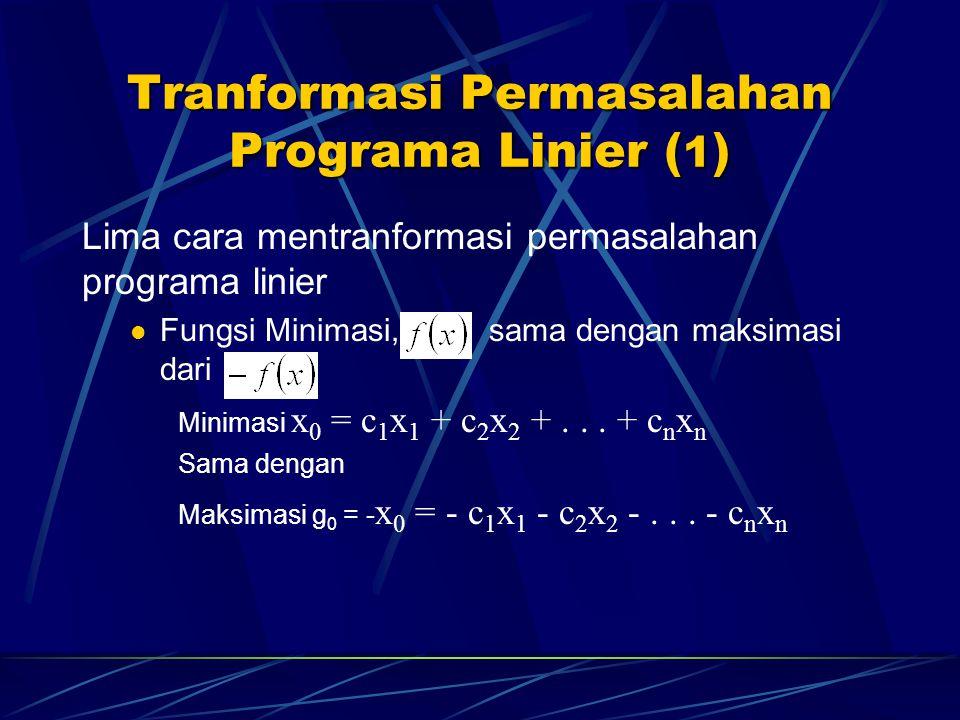 Tranformasi Permasalahan Programa Linier (1)
