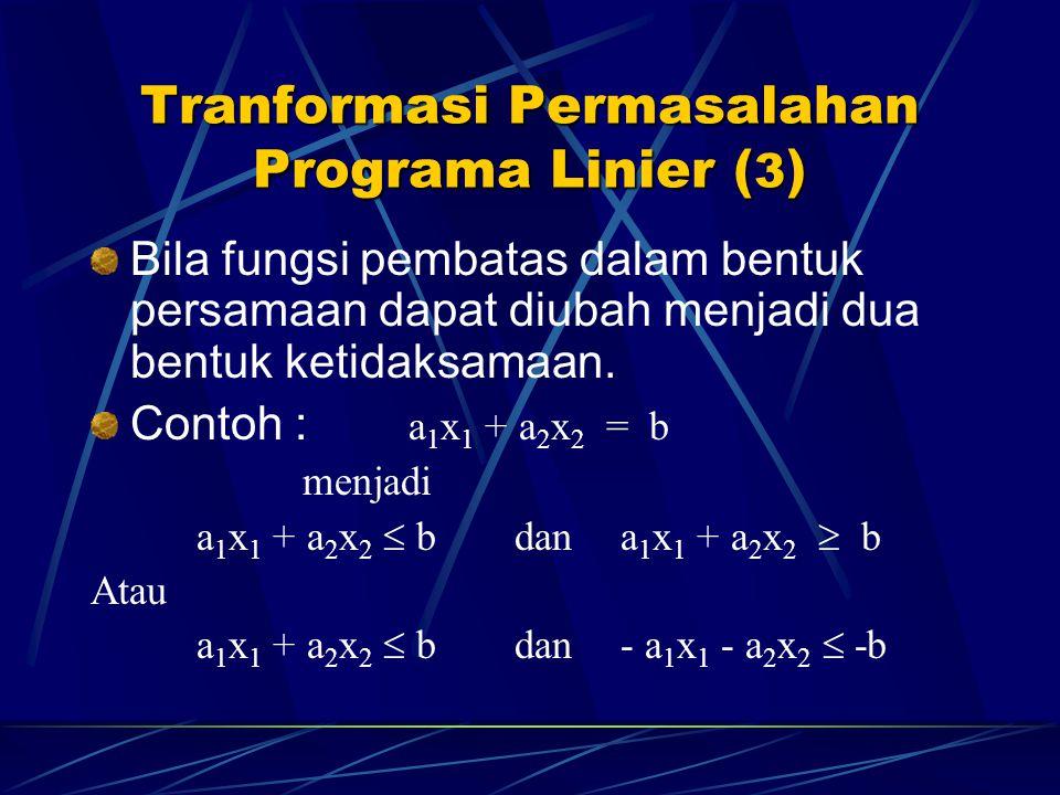 Tranformasi Permasalahan Programa Linier (3)