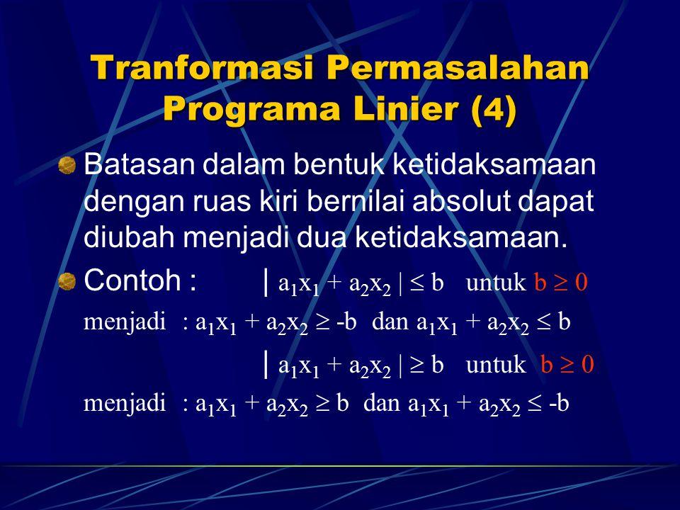 Tranformasi Permasalahan Programa Linier (4)