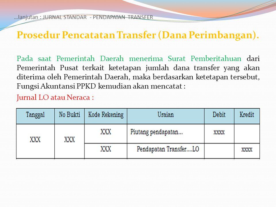 …lanjutan : JURNAL STANDAR - PENDAPATAN TRANSFER