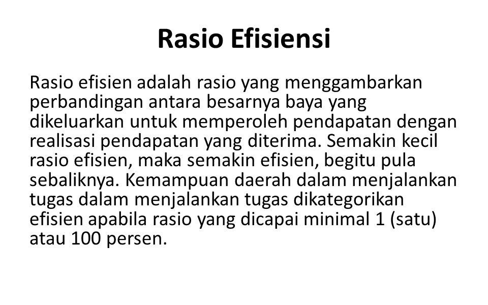 Rasio Efisiensi